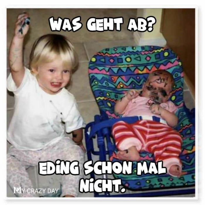 zwei kleine kinder baby mit gemaltem gesicht witzige bilder zum totlachen