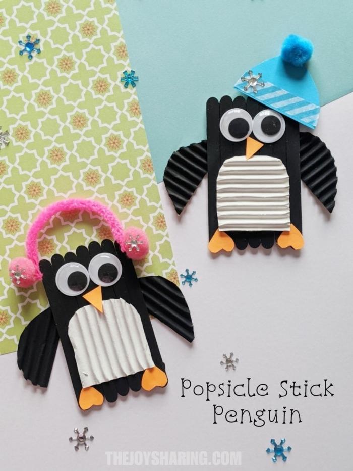 1 basteln mit eisstielen für kinder kreative und originelle bastelideen deko penguine aus holzstäbchen diy anleitung schritt für schritt