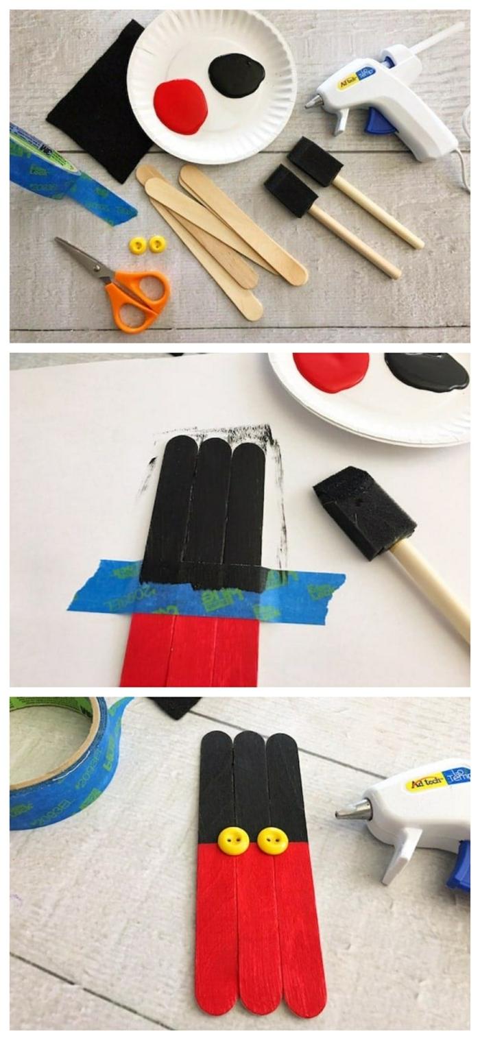 10 tutorial diy anleitung mickey mouse dekoration schritt für schritt anleitung basteln mit holzstäbchen kreative inspiration bastelideen