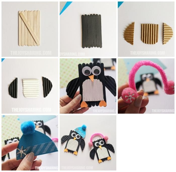 2 schritt für schritt tutorial diy anleitung basteln mit holzstäbchen penguine aus eisstielen selber machen kreative deko ideen spielzeuge kinder inspo