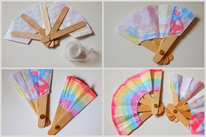 8 fächer aus holzstäbchen selber machen regebogen farben eisstiele holz dekoration basteln diy anleitung schritt für schritt