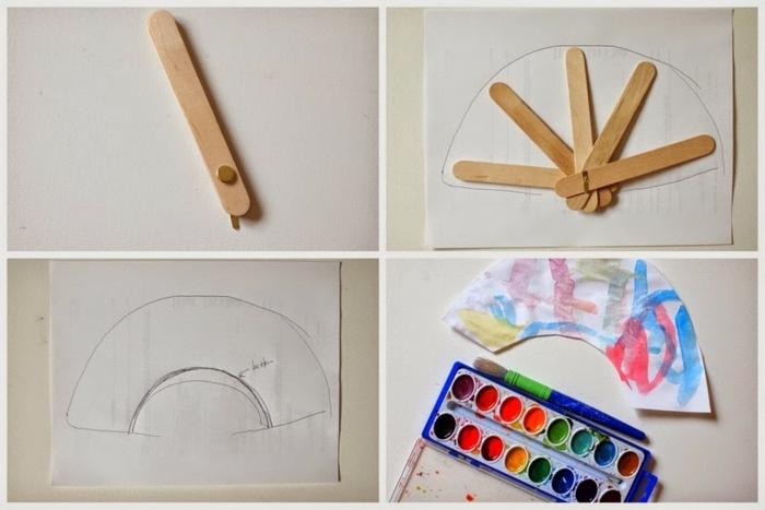 8 schritt für schritt anleitung diy basteln mit eisstäbchen upcycling ideen holzstäbchen fächer selber machen regenbogen farben