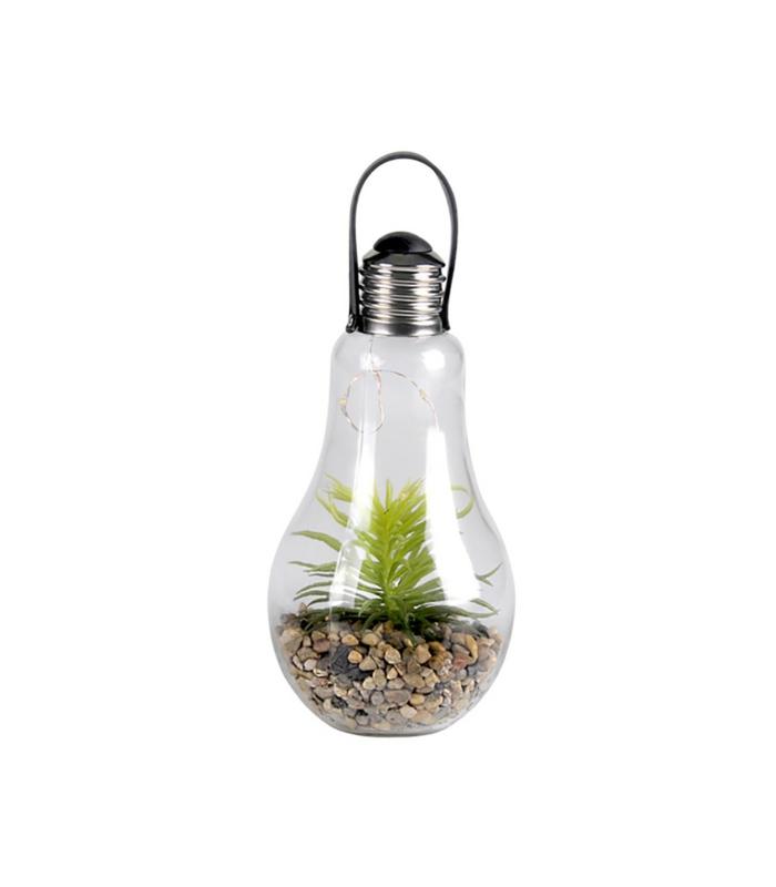wohnaccessoires eine glühbirne mit deko pflanzen