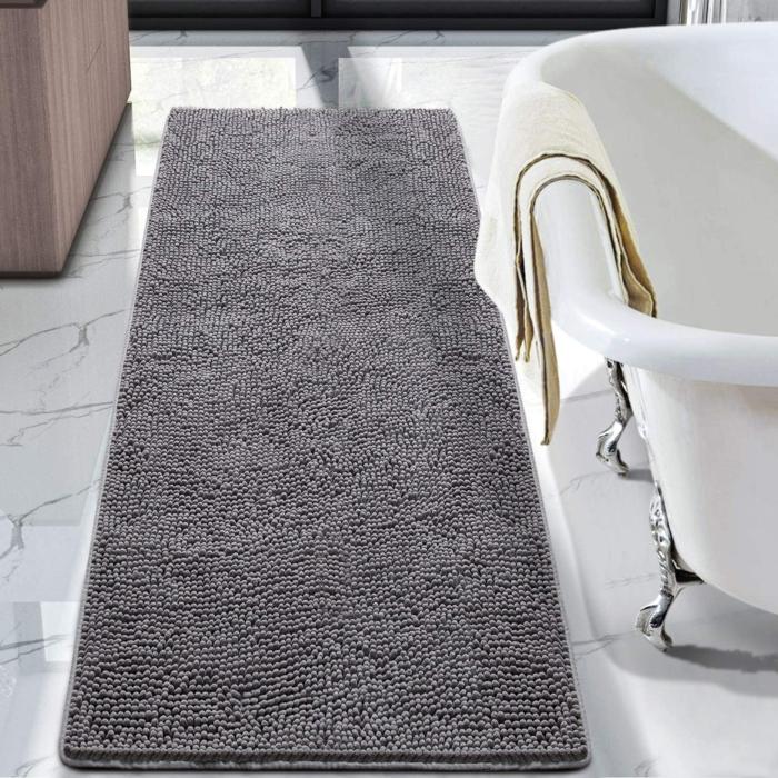 badezimmer einrichten tipps badezimmerteppich grau