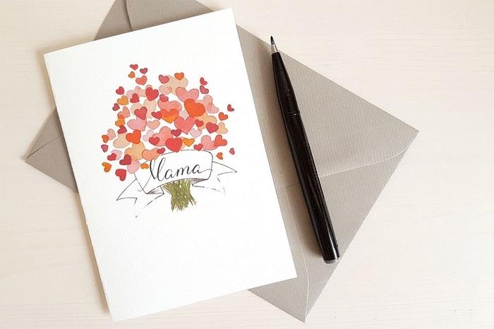 bastelideen muttertag basteln zur muttertag muttertagsgeschenke diy grußkarte weiß mit baum aus herzen briefumschlag