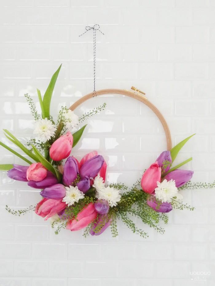 basteln für muttertag geschenk für mama basteln mit kindern blumen aus papier basteln kranz mit tulpen selber machen