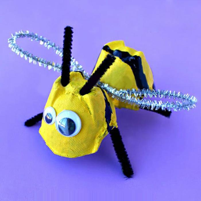 biene deko selber machen diy dekoration mit eierkarton basteln kreative ideen