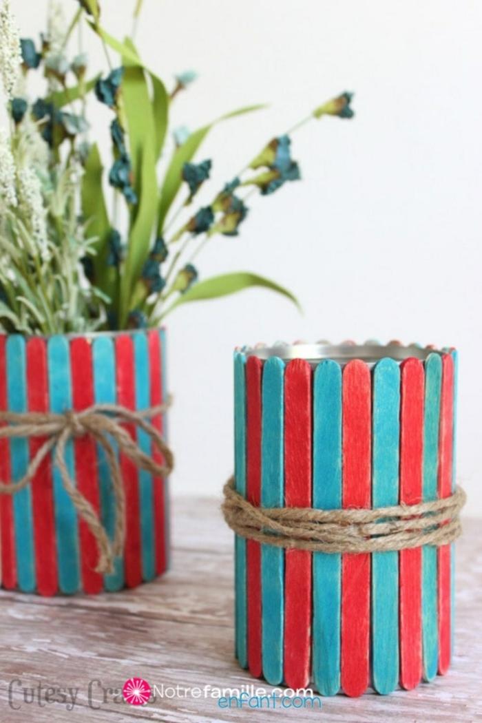 blumentopf selber machen aus holzstäbchen basteln dekoration selber machen originelle bastelideen diy deko inspiration und ideen