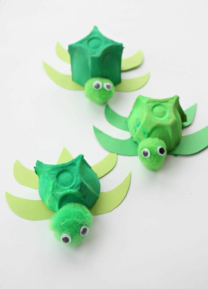 deko schildkröten selber machen mit eierkarton basteln ideen zum basteln mit kindern