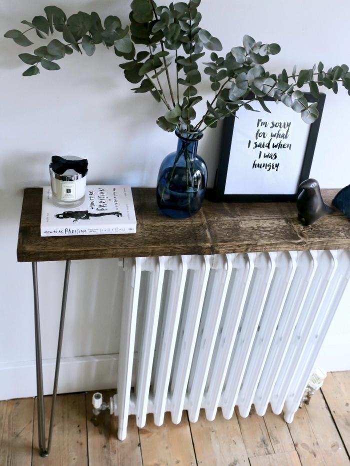 dekoration flur ideen für den eingangsraum gestalten holztisch über heizung vase mit blumen moderne inneneinrichtung