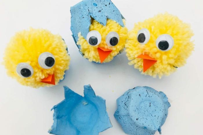 eierkarton basteln inspiration osterbasteln mit eierkartons kleine gelbe deko küken frühling dekoration selber machen