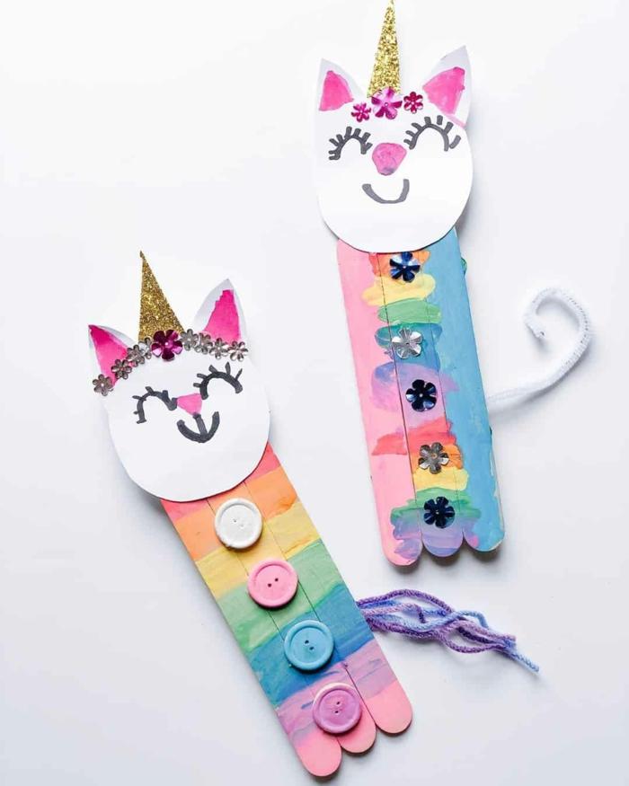 einhorn katzen selber machen ideen mit holzstäbchen basteln bunte dekoration mit kindern basteln upcycling ideen eisstiele