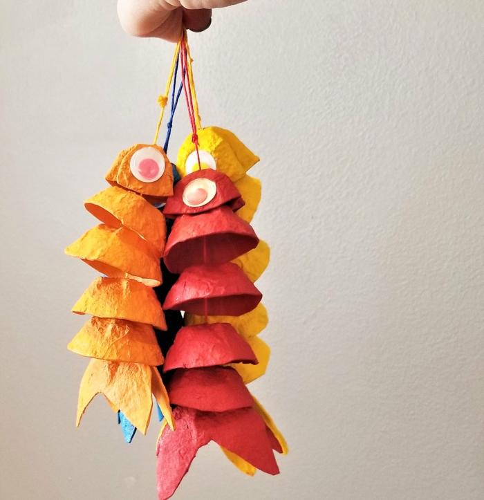 fische aus eierkarton basteln upcycling ideen pappe dekoration kinderzimmer basteln ideen mit kindern