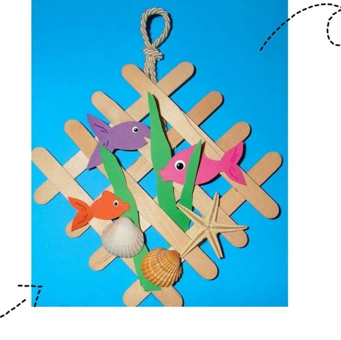 fische muscheln meerespflanzen dekoration basteln mit eisstäbchen ideen und inspiration bastelideen für kinder