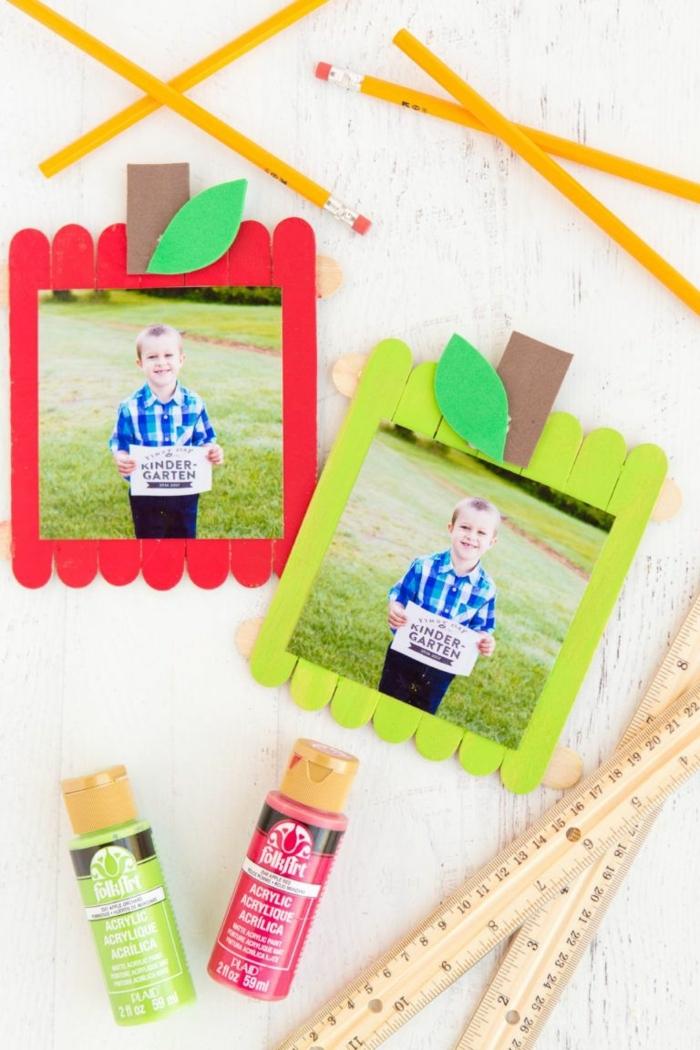 fotorahmen selber machen kreative dekoration diy schritt für schritt basteln mit eisstielen originele bastelideen mit kindern
