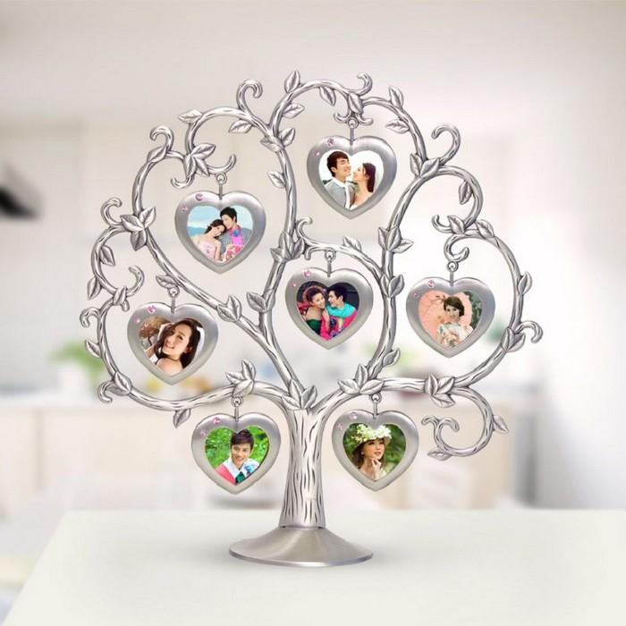 geschenke für frauen ab 60 geschenke zum 60 60 geburtstag geschenk selbstgemacht foto baum aus silber kleine fotos herzform baum