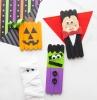 halloween dekoration selber machen monster mummie vampir kürbis aus eisstäbchen basteln originelle bastelideen inspiration