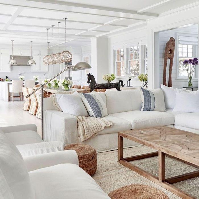 holzdecke streichen wohnzimmer und küche in einem zimmerdeko in skandi style einrichtung in weiß