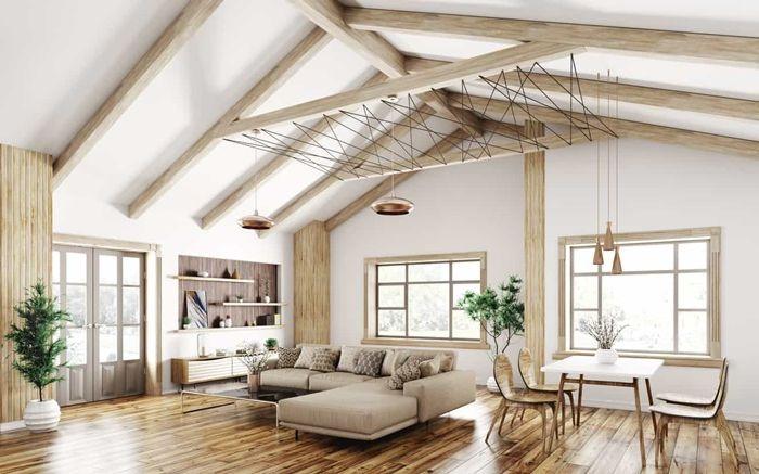holzdecke weiß holzdielen streichen hohe decke viel licht zimmer gestaltung wohnzimmer