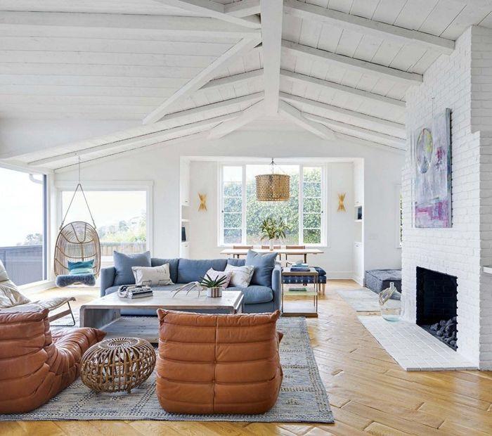 holzdecke weiß steichen tipps und ratschläge wohnzimmergestaltung maritimes flair wohnzimmereinrichtung