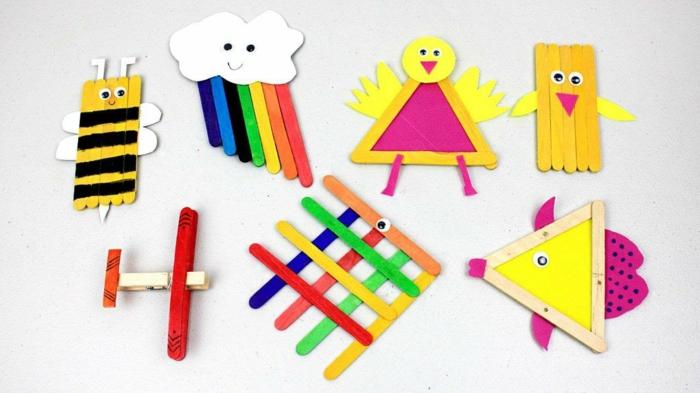 ideen für basteln mit eisstielen bastelideen für kinder küken wolke mit regenbogen biene vogel und flugzeug aus holzstäbchen selber machen