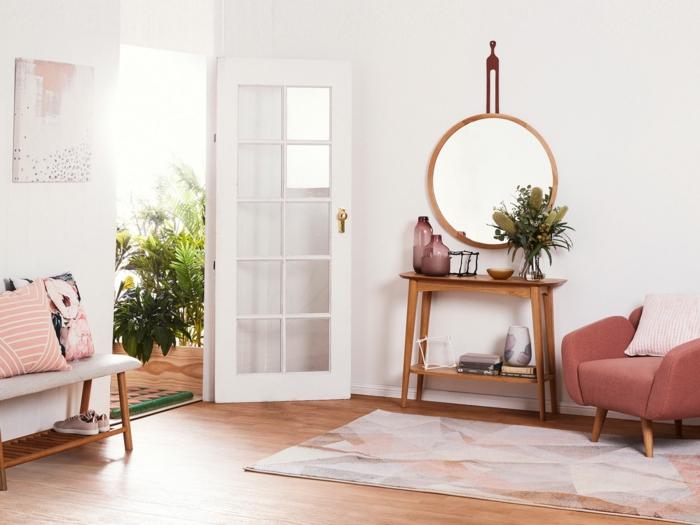 inspirierende inneneinrichtung pastellfarben runder spiegel kleiner tisch aus holz konsolentisch modern flur gestalten inspo ideen