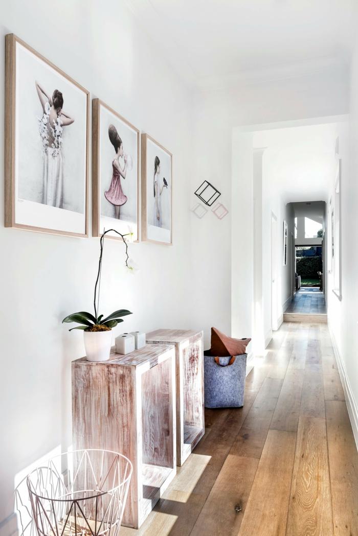 kleinen flur gestalten minimalistische gemälden dekoration moderne und stylishe inneneinrichtung flur ideen für den eingangsbereich