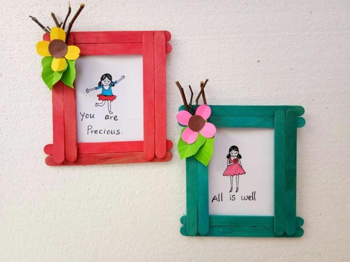 kreative bastelideen für kinder und erwachsene fotorahmen eisstiele basteln dekoriert mit bunten blumen ideen basteln kinder