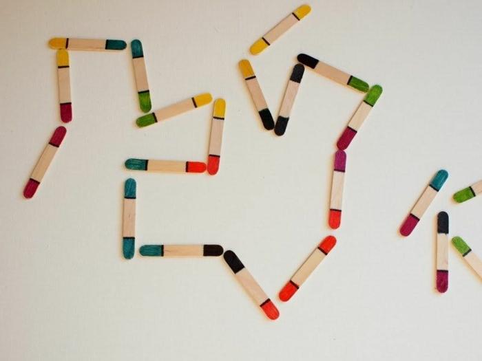 kretive spiele für kinder und erwachsene domino aus holzstäbchen basteln mit eisstäbchen inspiration