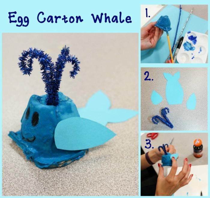 meerestiere selber mache wal aus eierpappe basteln aus eierkarton diy anleitung schritt für schritt erklärung basteln mit kindern