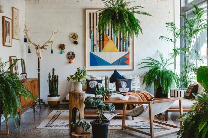 modernes wohnzimmer pflanzen das haus vor giftigen abgasen schützen