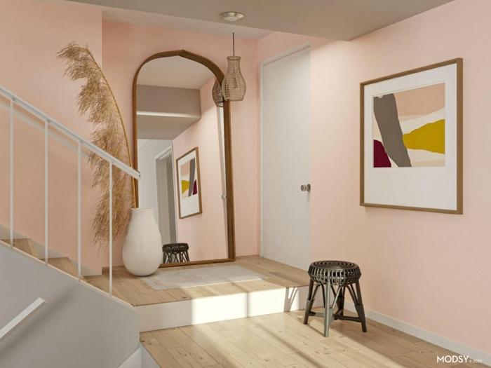 pastellfarben wände und bilder großer spiegel weiße vase schwarzer stuhl farben treppenhaus beispiele inneneinrichtung tendenzen 2021