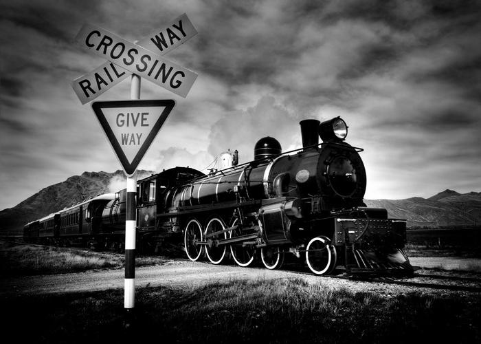 old fashioned steam locomotive, kingston new zealand.