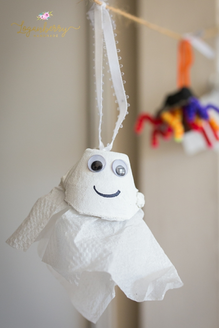 süße kinderzimmerdekoration gespenst aus eierpappen basteln mit eierkarton kreative bastelideen für kinder