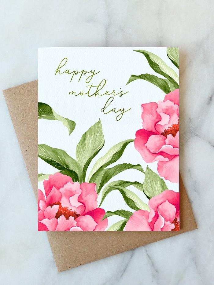 schnelles geschenk fü mama basteln bastelideen muttertag selbstgesmachte geschenke mama basteln für muttertag grußkarte in rosa selber malen muttertag basteln