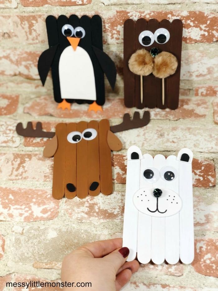 tiere aus eisstäbchen basteln mit kindern pinguin bär elch gebastelt aus eisstielen kreative bastelideen für kinder und erwachsene