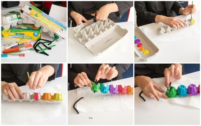 tutorial raupe basteln eierkarton diy anleitung schritt für schritt erklärung bunte raupe selber machen