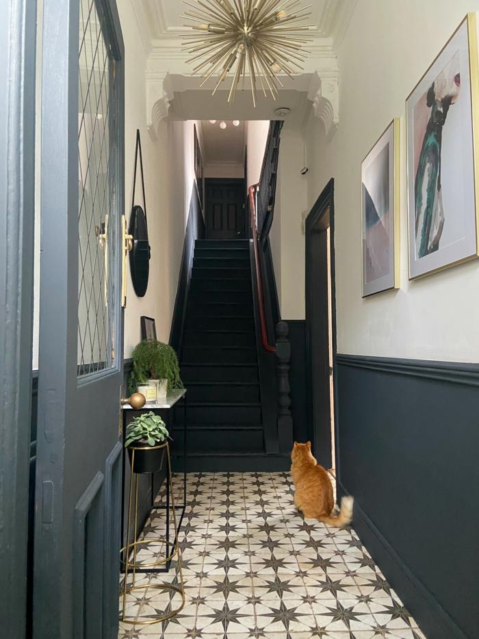 welche fliesen für den eingangsbereich farben treppenhaus beispiele blau weise wand rote katze blaue einganstür moderne inneneinrichtung
