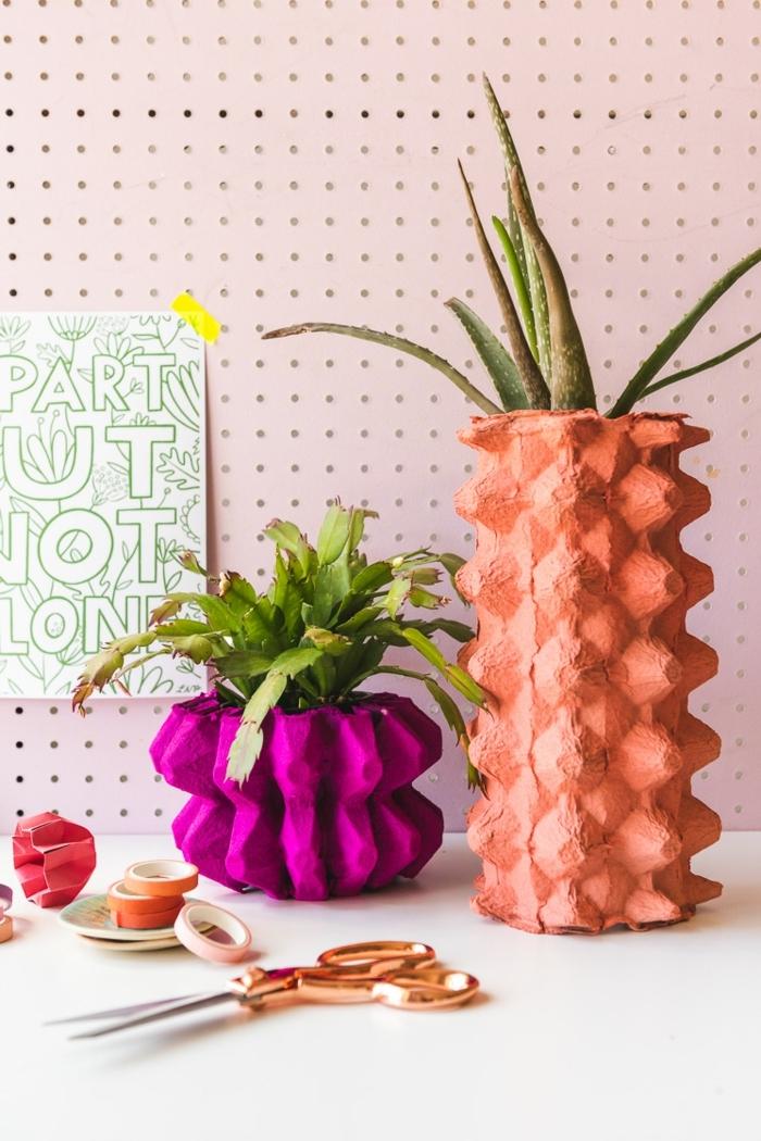 wohnzimmer dekoration selber basteln vase basteln aus eierkarton diy anleitung schritt für schritt erklärung