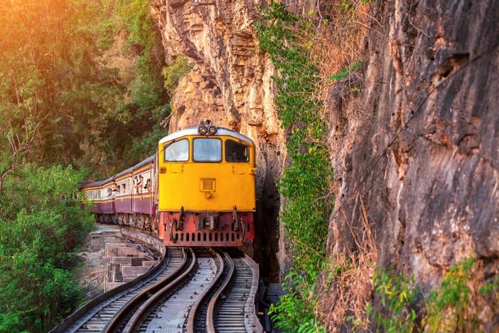 thai retro train in kanchanaburi, thailand.