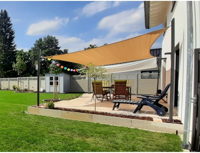 maanta sonnensegel veranda gestalten hintergarten ideen moderner sonnenschutz