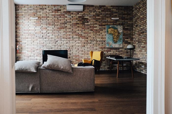 tapten kleben tipps wanddeko wohnzimmer wohnzmmerdeko ideen wandtapete in ziegeloptik