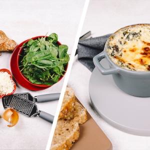 1 collage fertig gebackener spinat dip mit mozzarella frischkäse und brot