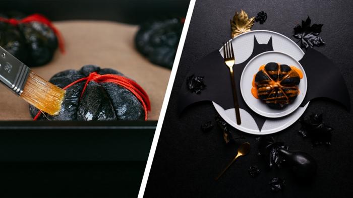 1 collage halloween kürbisbrot rezept gruseliges brot aus kürbis selber machen kreative backideen zum selber machen