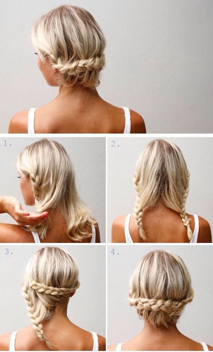13 schritt für schritt schulterlange haare stylen hochsteckfrisur mit zopf frau mit blonden haaren