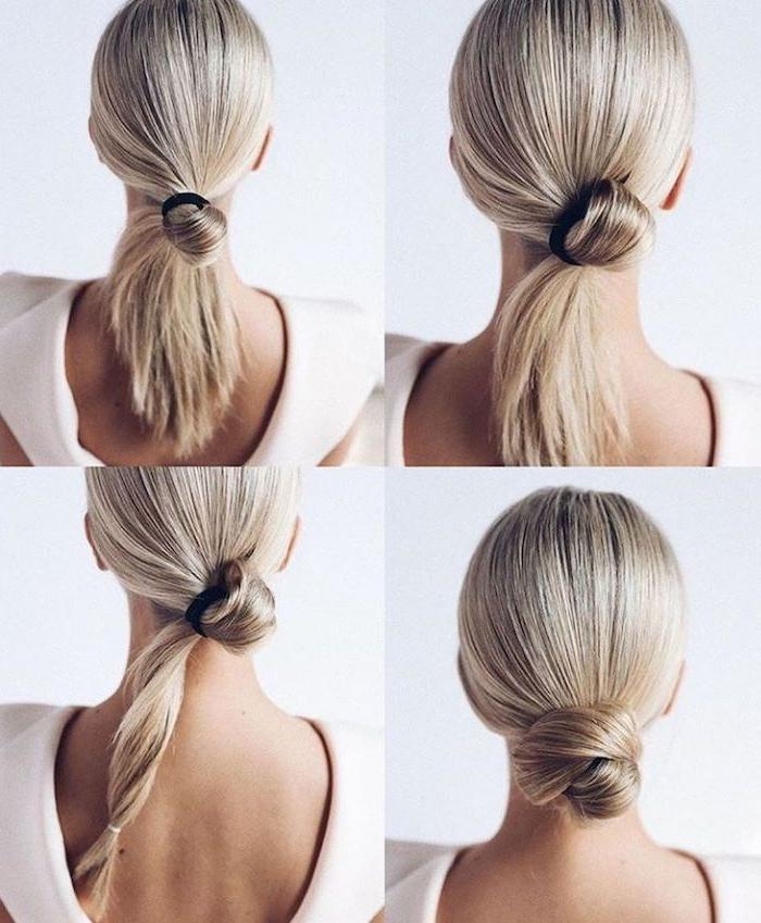 14 diy hochsteckfrisur für schulterlange haare schritt für schritt erklärung frisuren damen selber machen frau mit blonden haaren