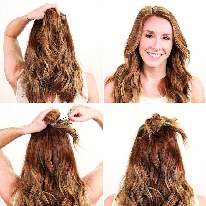 2 frisuren mittellang diy schritt für schritt anleitung haarknoten selber machen einfach und schnell braune haare mit blonden strähnen
