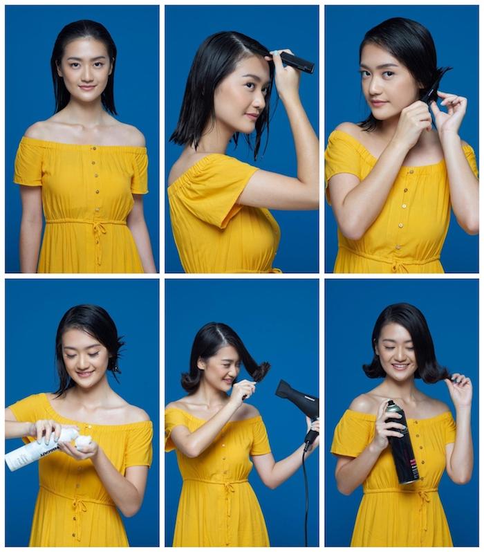 9 trendige und einfache frisuren für anfänger mittellanges haar hair flip frisur diy anleitung schritt für schritt selber machen frau im gelben kleid
