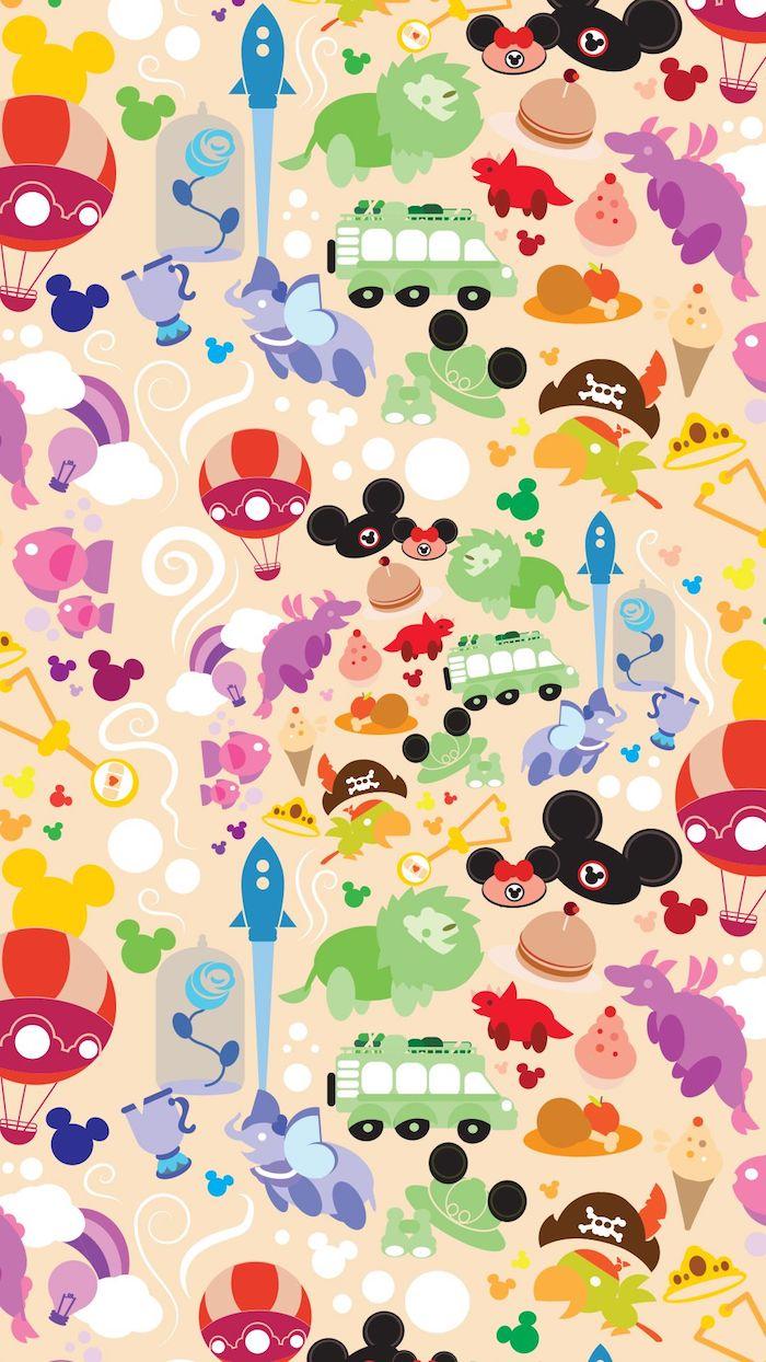 bunte collage mit disney figuren mickey mouse ohren dumbo der könig der löwen die schöne und das biest cartoon hintergrundbilder