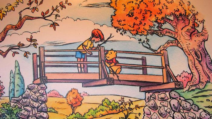 christopher robin und puh der bär auf einer brücke beste freunde kreatives disney desktop wallpaper cartoon